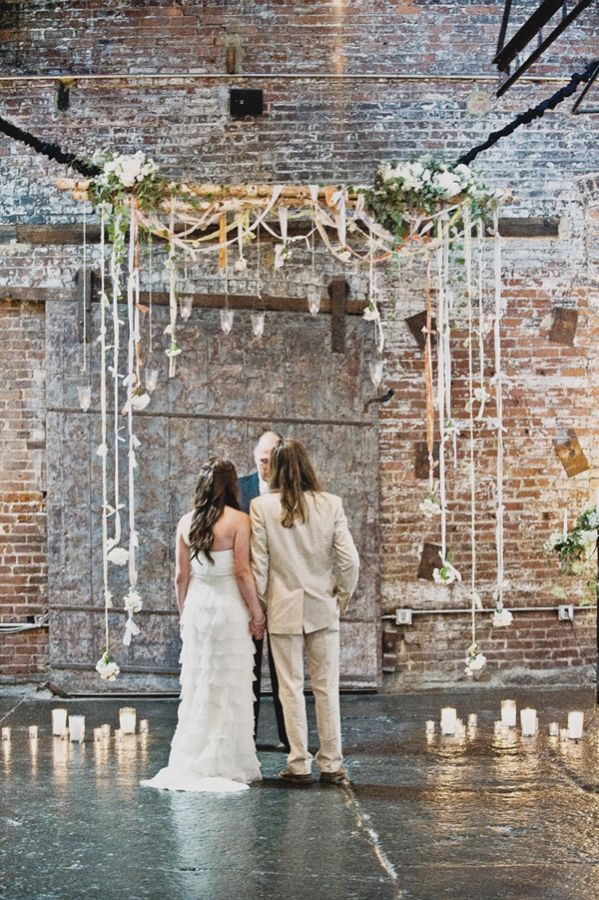 chuppah with hanging votives