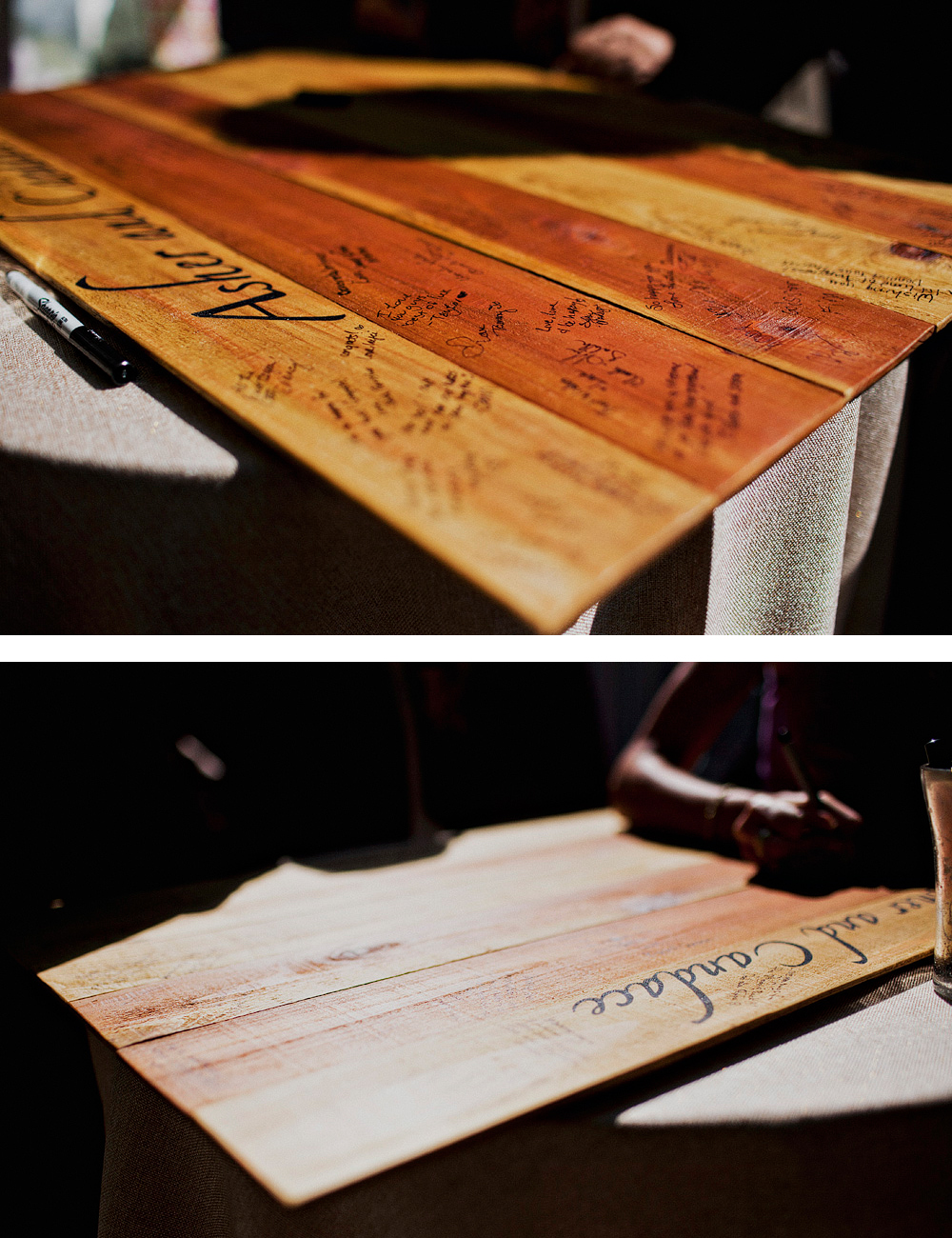 wooden table guest book
