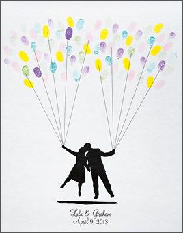 Thumbprint balloons as guestbook alternative