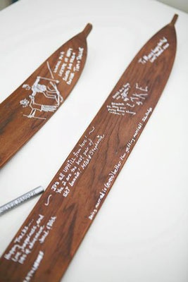 wooden ski guestbook