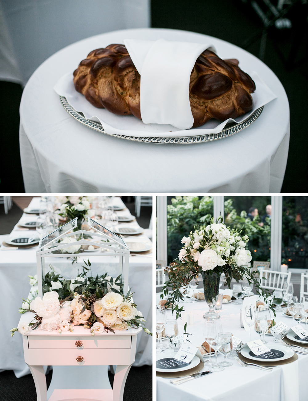 Jewish Greek Wedding at Brooklyn Botanical Garden New York tables 2