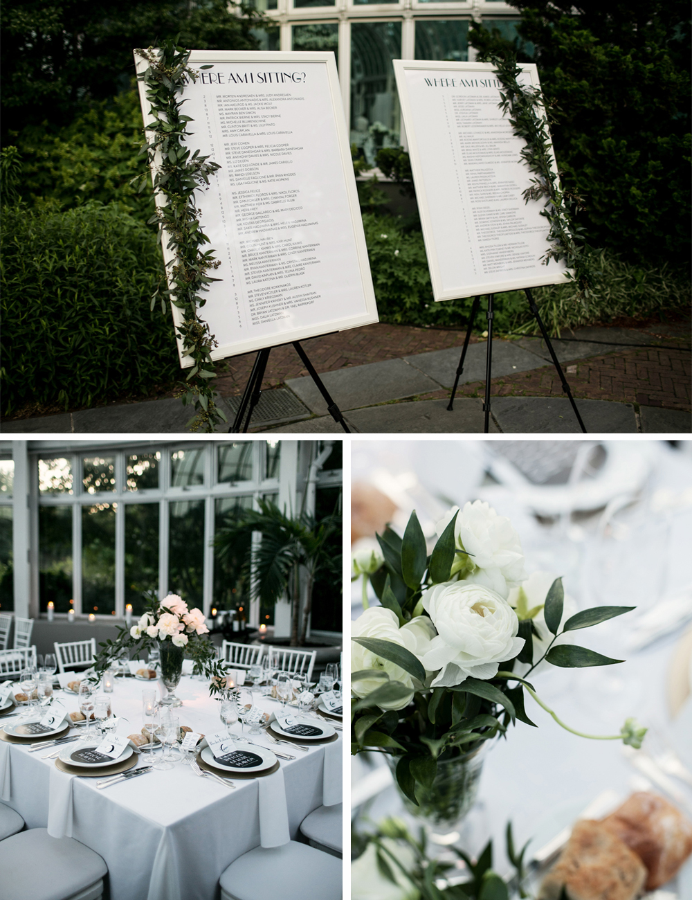 Jewish Greek Wedding at Brooklyn Botanical Garden New York tables 3