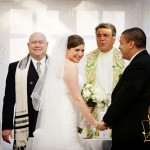 What happens when a Rabbi and a Priest officiate as a duo for a Jew-ish wedding ceremony? Something very special…