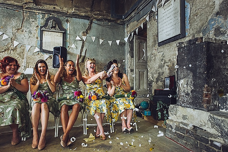 Colourful London wedding at Asylum Arts and The Big Red Pizza Bus