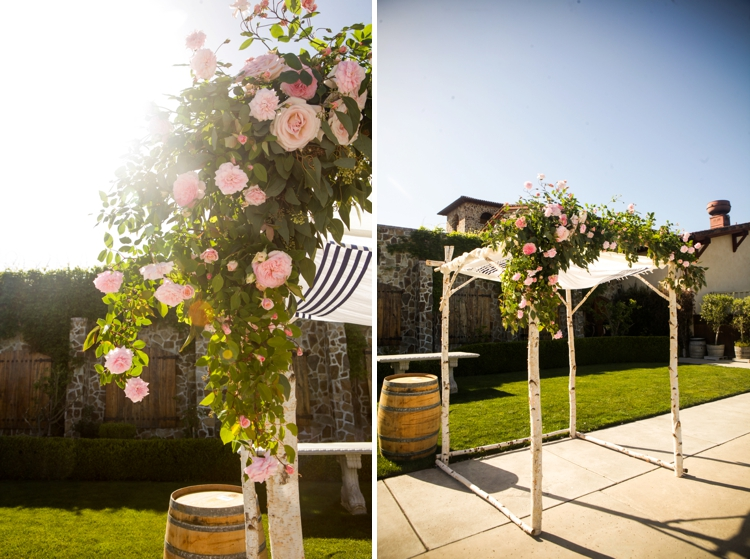 Birch and rose chuppah