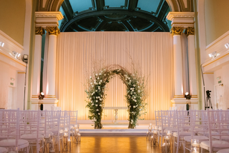 White rose wedding arch