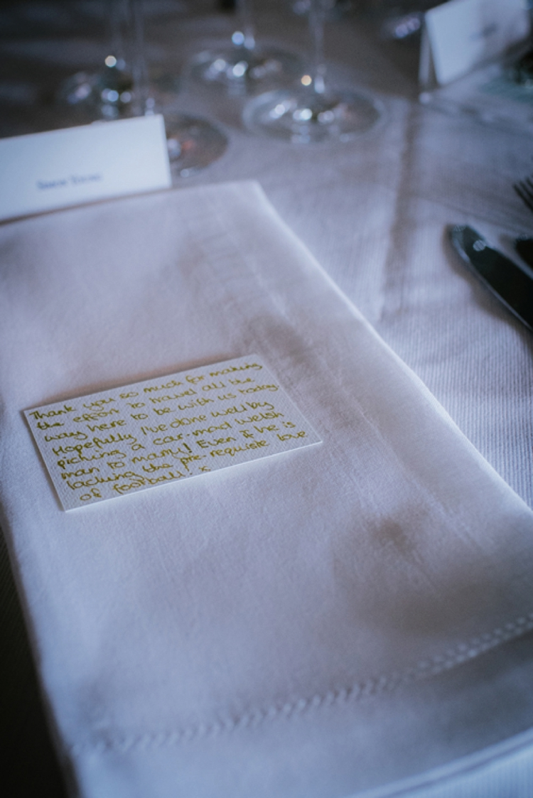handwritten wedding note