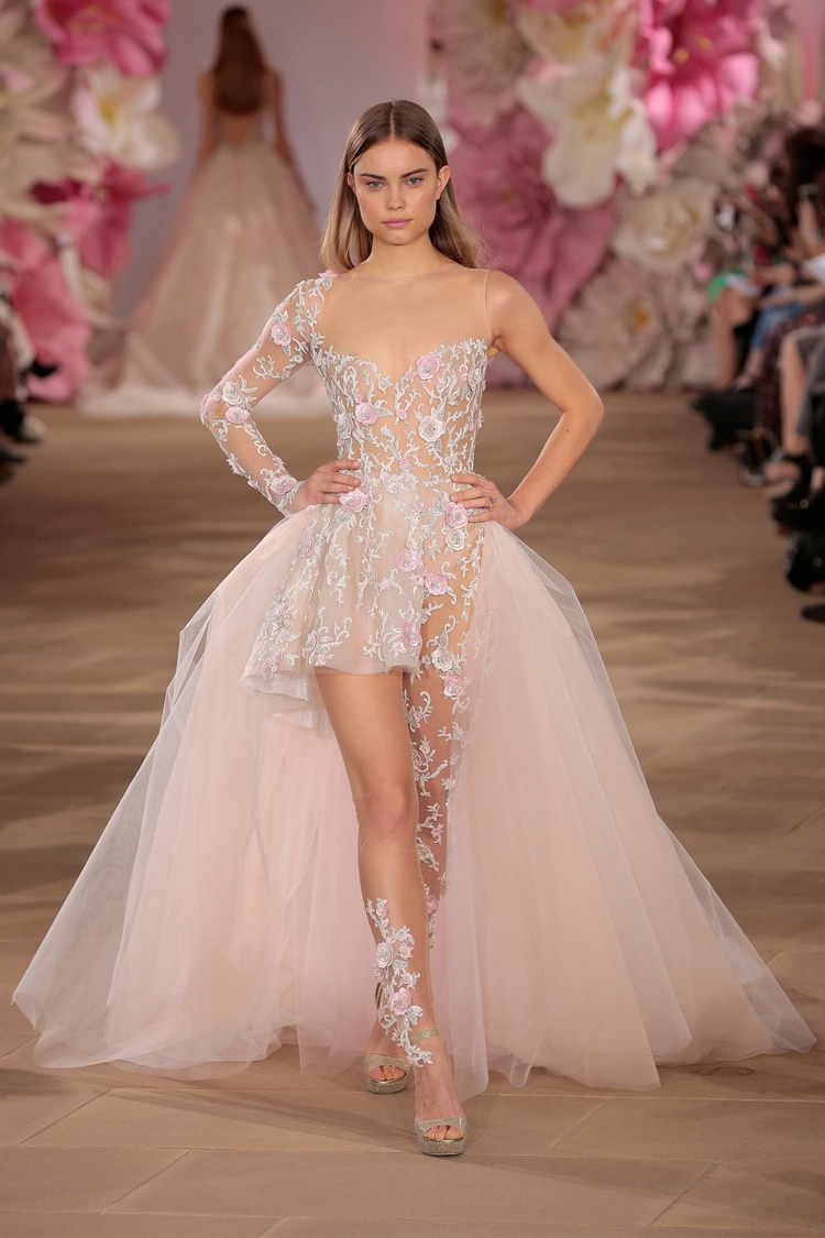 """NEW YORK, NY - APRIL 15: A model walks the runway wearing the Ines Di Santo Bridal Collection Spring 2017 on April 15, 2016 in New York City. (Photo by Randy Brooke/Getty Images for Ines Di Santo)"""