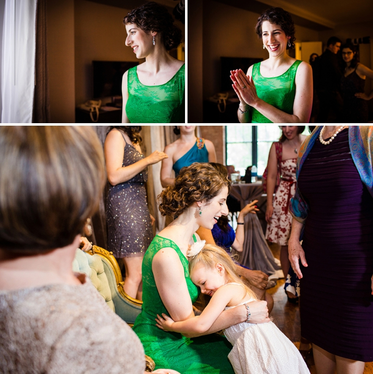A bride in a green wedding dress for a creative Jewish wedding at Bridgeport Art Center, Chicago, USA