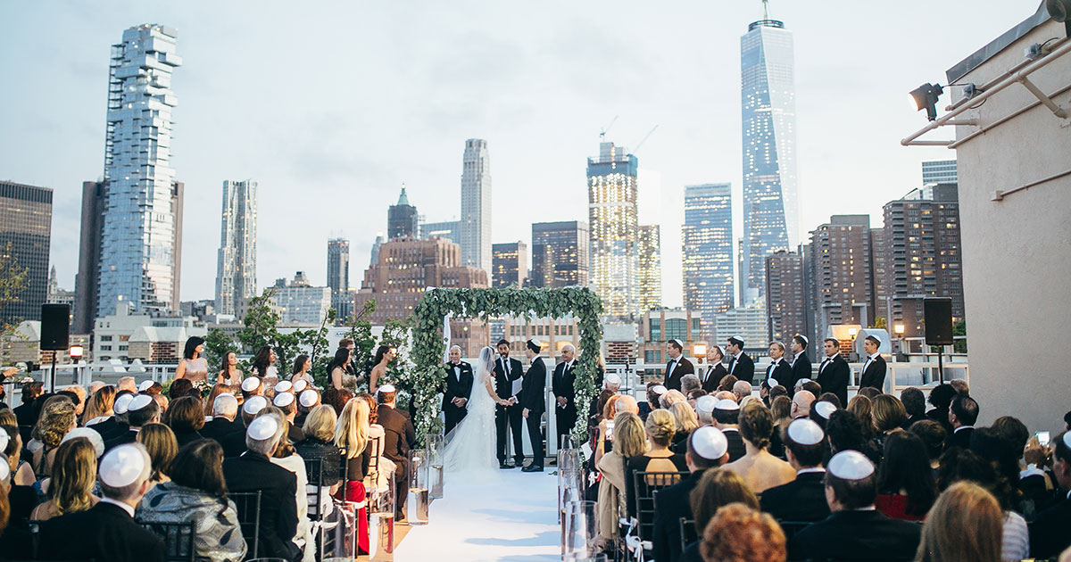 Beautiful Outdoor Wedding Ceremony At Tribeca Rooftop: A Glamorous Big Apple Jewish Wedding With A Chuppah
