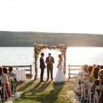 An Amsale Bride for a Summer Camp-Themed Jewish Wedding at Kamp Kohut, Oxford, Maine, US