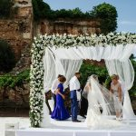 A Pronovias Bride for a Party-Vibe Destination Jewish Wedding with an Epic Chuppah at Finca La Concepcion,  Marbella Spain