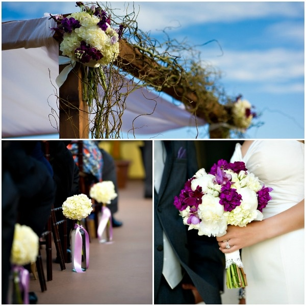 Chuppah, Purple and white Flowers