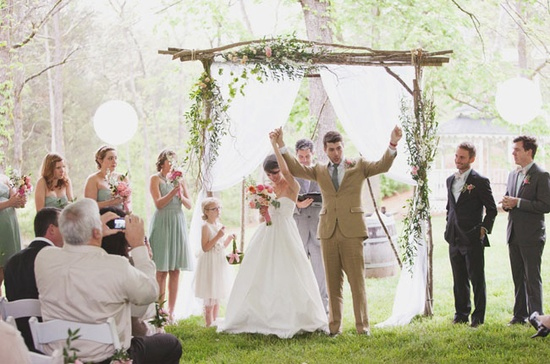 Stunning natural chuppah made from curly willow, seen at Christina & Jonathan's Wedding on Green Wedding Shoes. [image: Alively Photography]