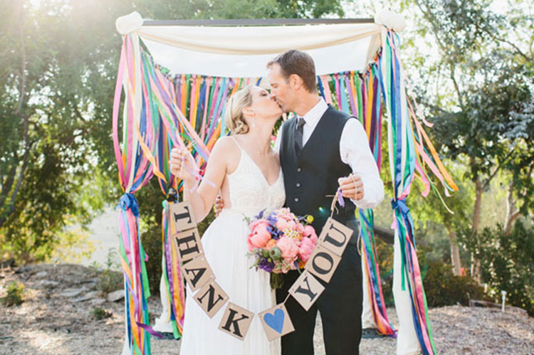 colourful ribbon chuppah