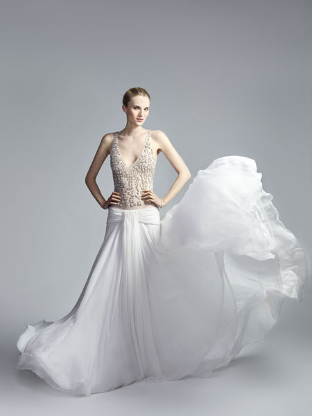 A Crystal Embellished Silk Chiffon Gown By Jay Ahr 5000