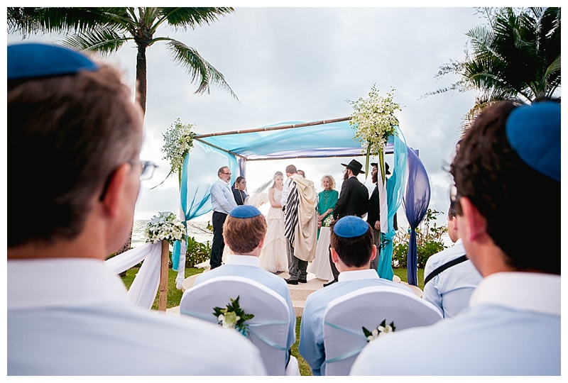 Turquoise blue beach wedding chuppah