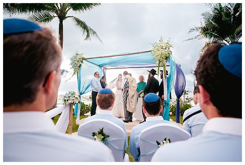 Turquoise blue beach wedding chuppah