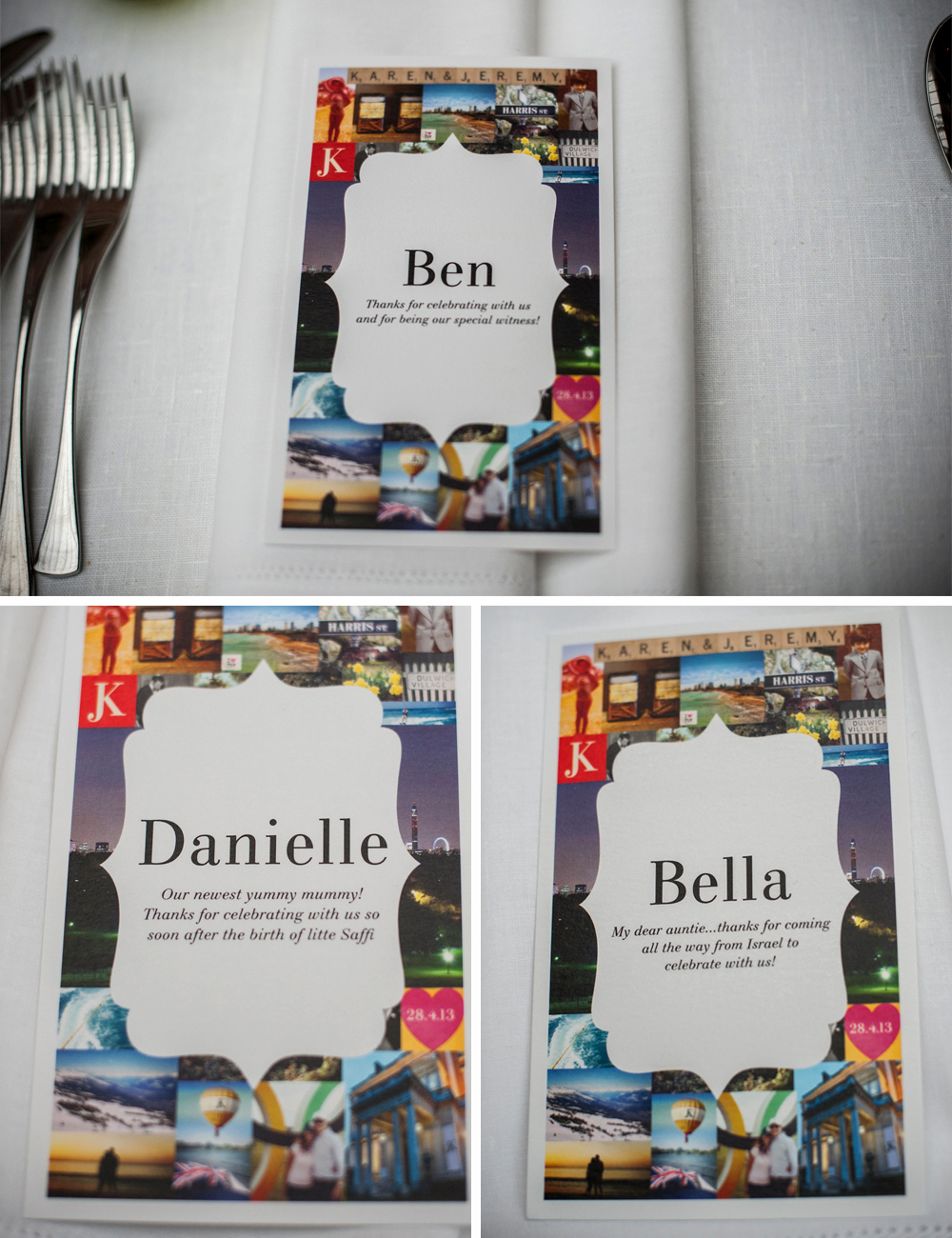 Name cards with a personal message for each guest double up as name cards