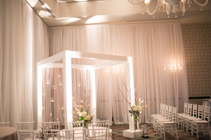 White Chuppah with Suspended Glass Terraniums
