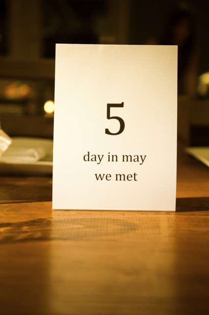 Each table number is a different fact about the bride and groom