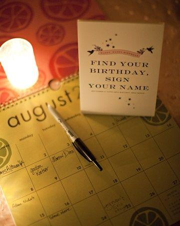birthday calendar guestbook