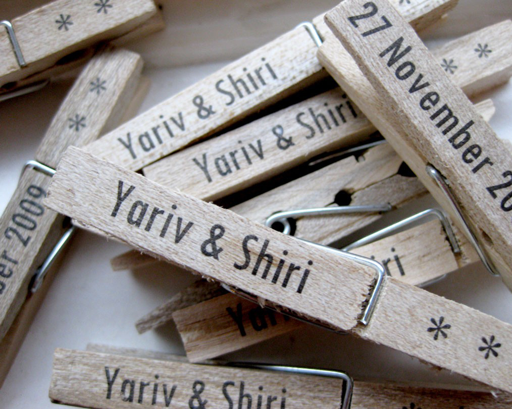 customised clothes pegs wedding