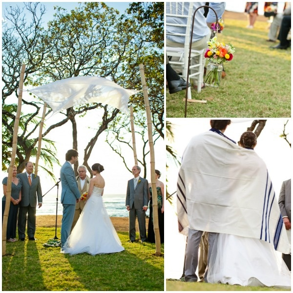 Beach Jewish Wedding, Bamboo Chuppah