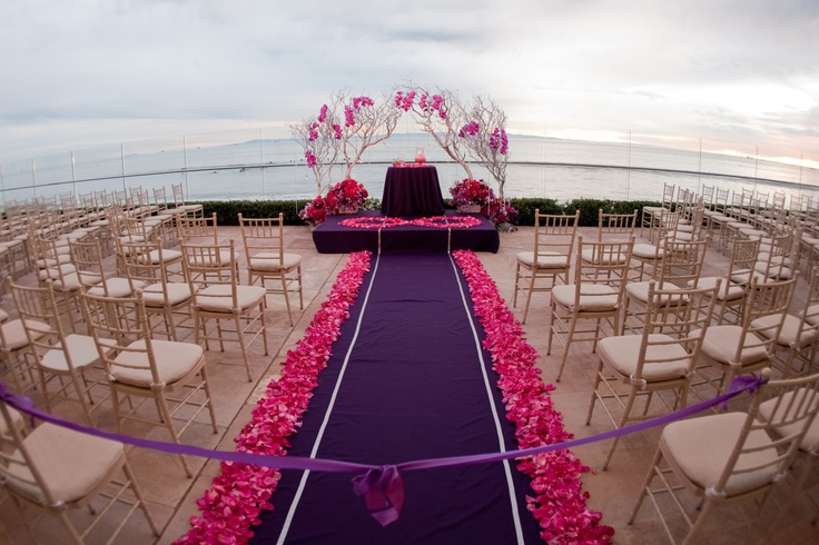 Beachside fuchsia purple chuppah