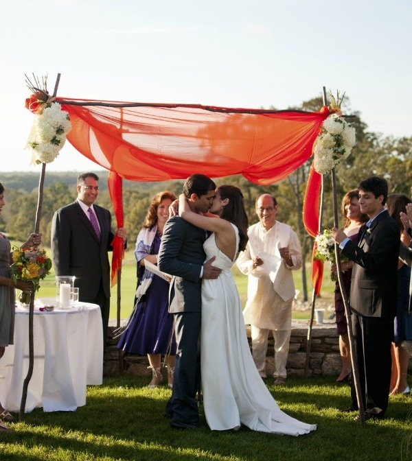Chuppah made from Sari Material, Jewish Hindu Interfaith Wedding