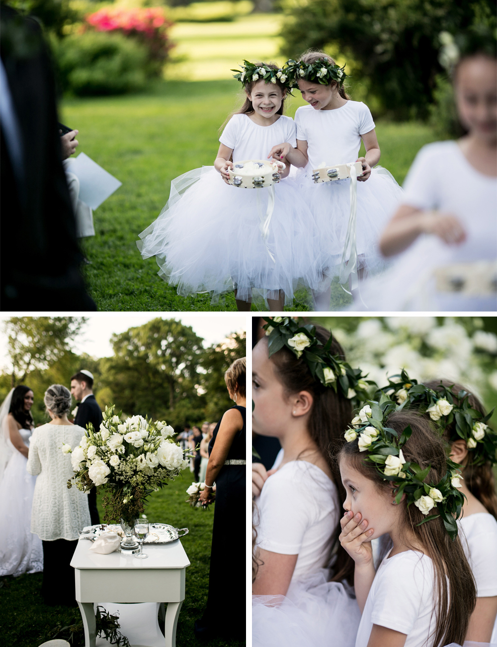 Jewish Greek Wedding at Brooklyn Botanical Garden New York flower girls