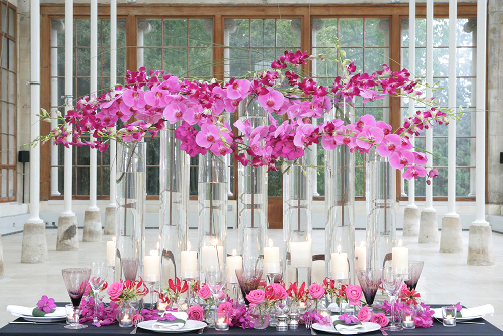 tubular vases orchids