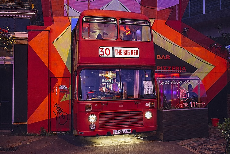 Colourful London wedding at Asylum Arts and The Big Red Pizza Bus_0132