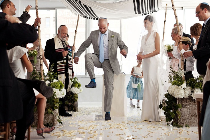 A guide to the jewish wedding ceremony and order of service under the chuppah smashing the - Breakable wedding glass ...