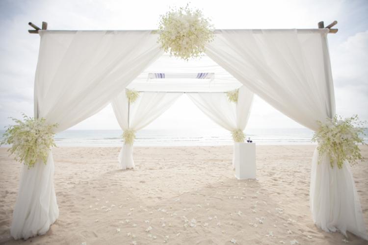 beach style chuppah white