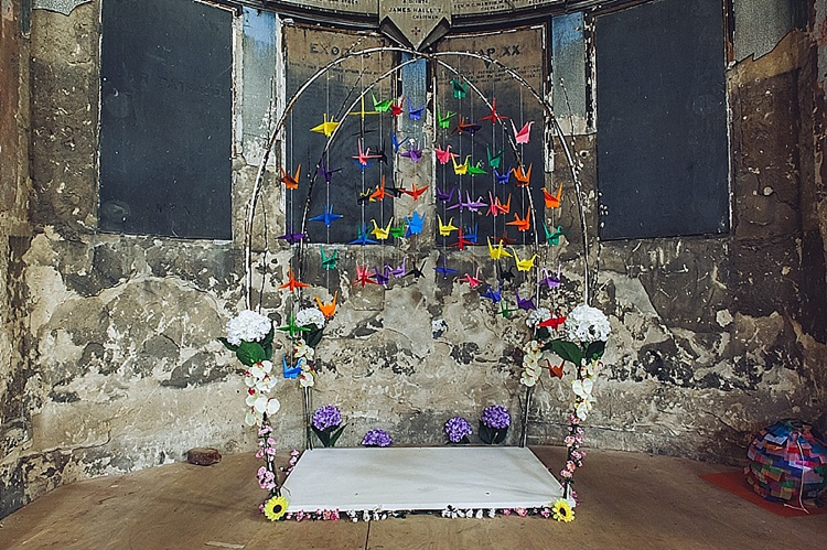 colourful paper crane chuppah