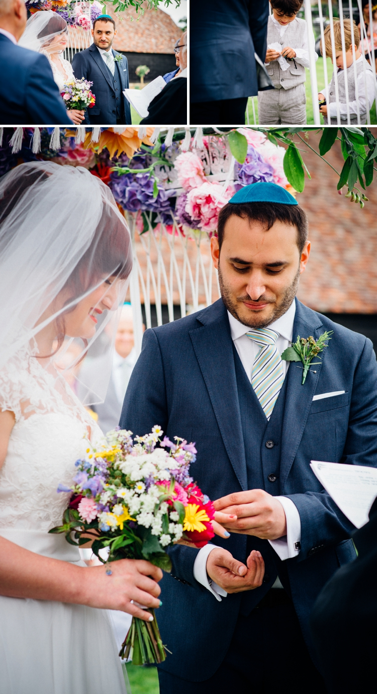 colourful English garden Jewish wedding