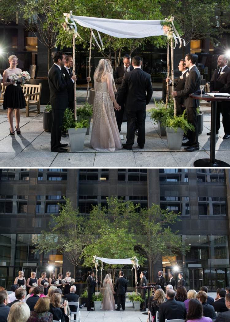 Gold and blush Jewish Wedding at South Branch restaurant, Chicago, Illinois, USA