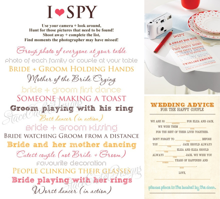 I SPY card wedding