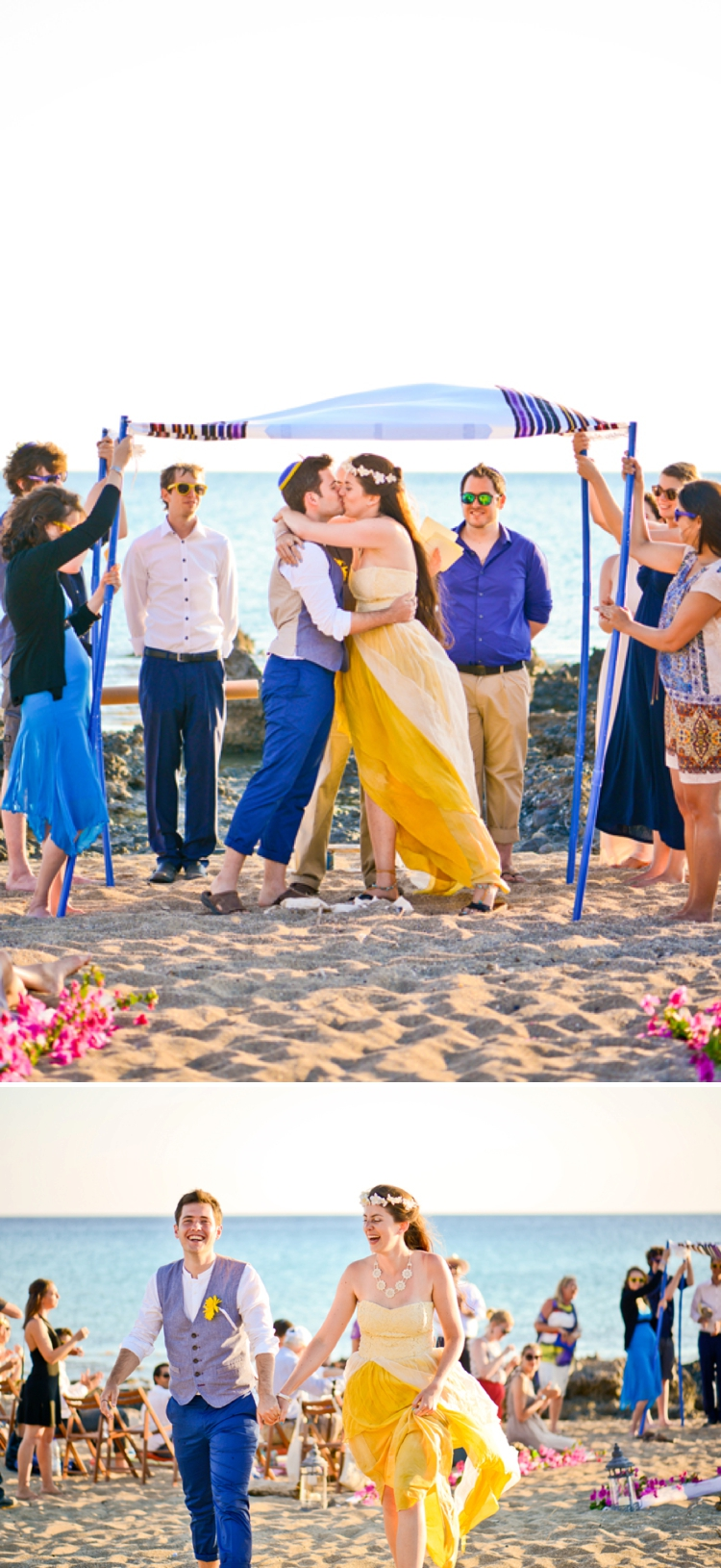 diy blue and yellow beach wedding in crete  greece  with