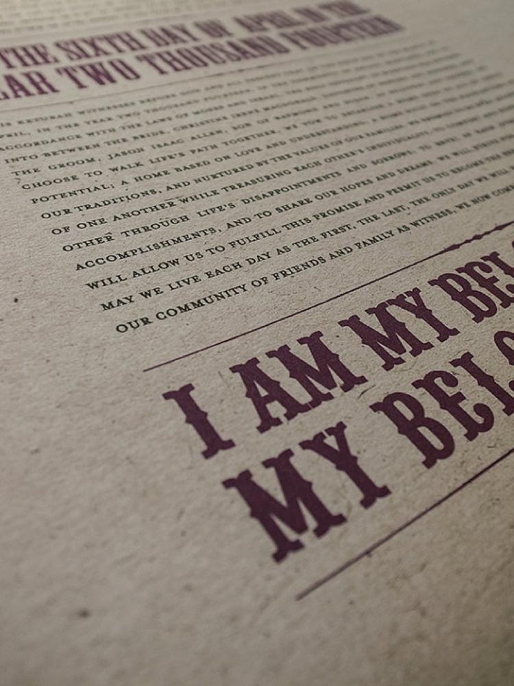 Typographic ketubah