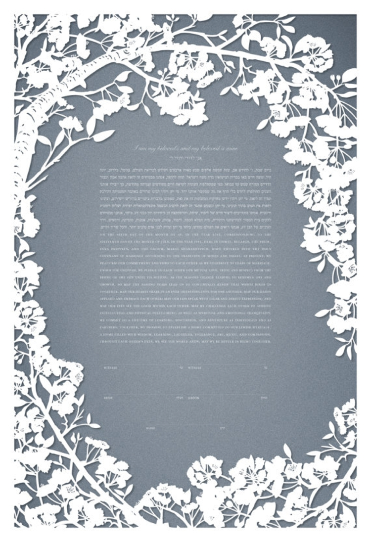Papercut cherry blossoms ketubah