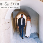 A super cool bride wearing bridal separates for a minimalist wedding at Caliph in the Old City of Jaffa, Israel