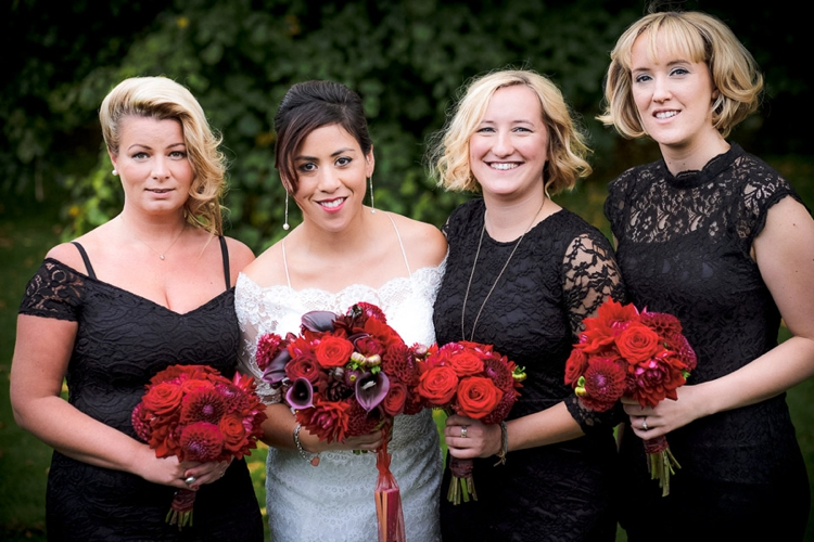 Bridesmaids in black