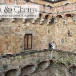 A Carolina Herrera bride for a destination Jewish Wedding in a castle at Castello di Vincigliata, Florence, Italy.