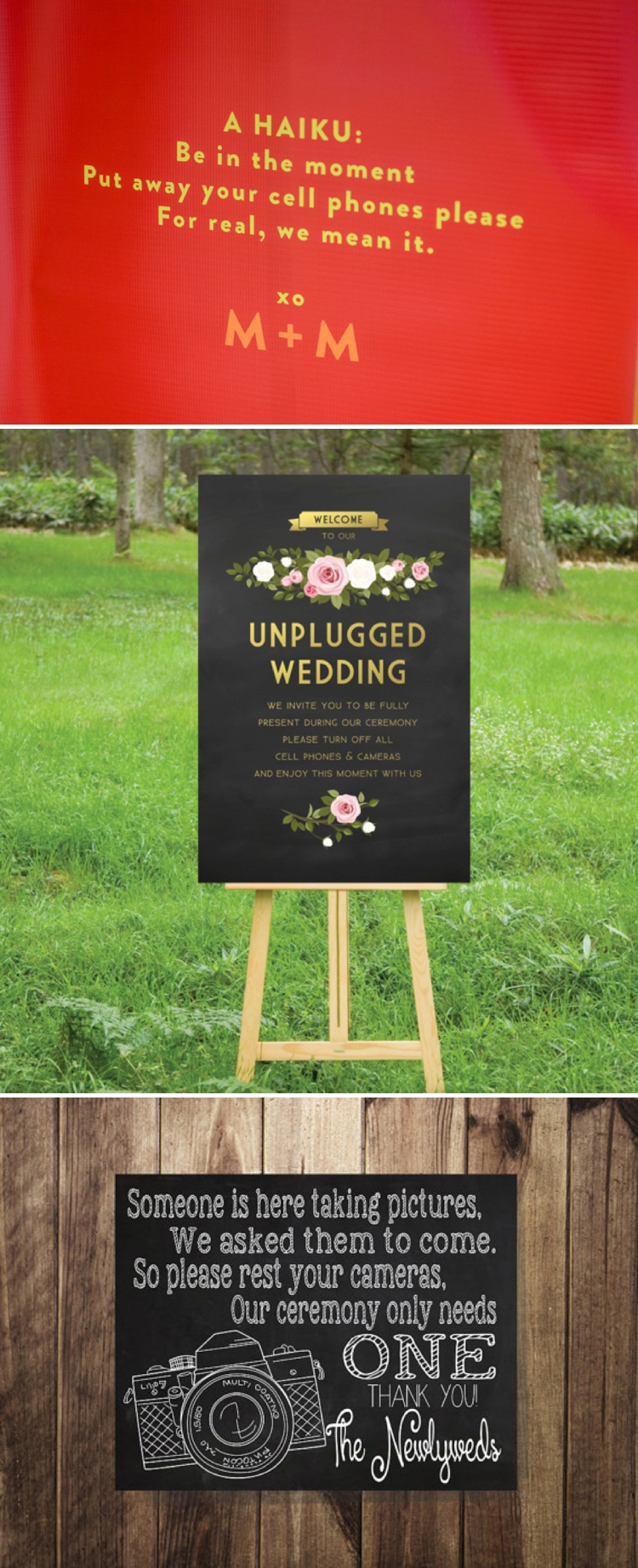 unplugged wedding signs