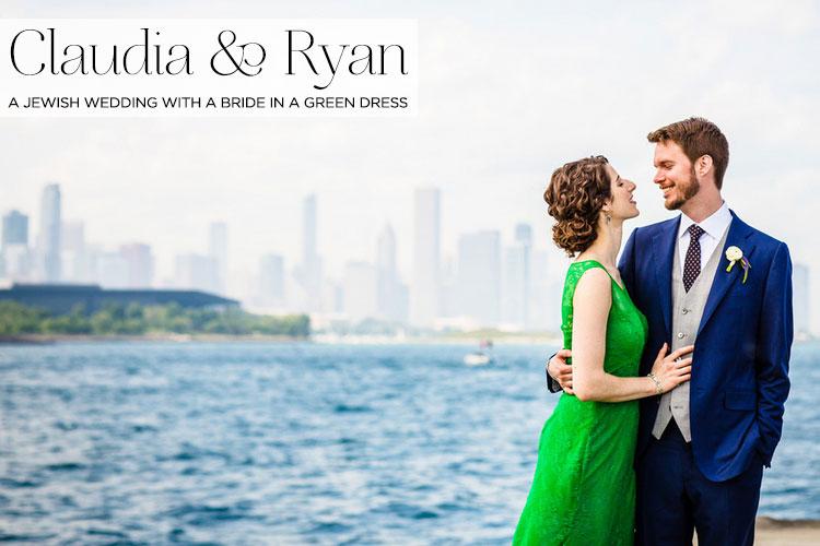 A-bride-in-a-green-wedding-dress-for-a-creative-Jewish-wedding-at-Bridgeport-Art-Center,-Chicago USA