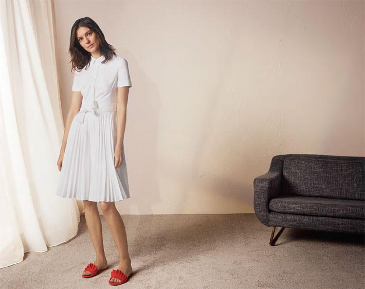 Karen-Millen-White-Pleated-Dress