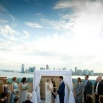A Monique Lhuillier Bride for a Rooftop Jewish Wedding at Ramscale Studios, Manhattan, New York City, USA