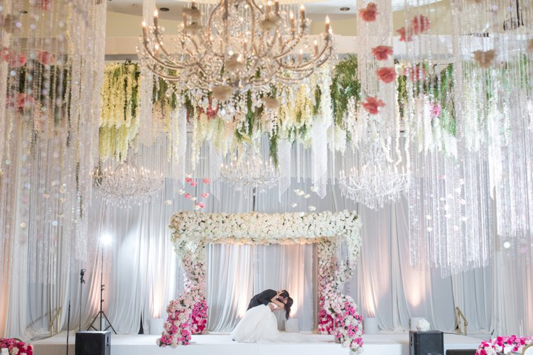 A Monique Lhuillier Bride for an Ultra-Luxe Jewish Wedding with an Ombre Floral Chuppah at the Beverly Wilshire, Beverly Hills, California, USA_0656